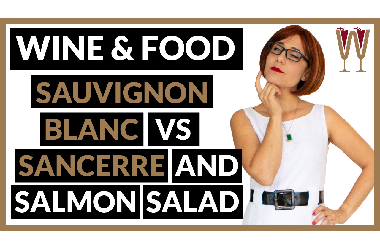 "Banner image showing Annabelle asking which wine pairs best with salmon salad: ""Sauvignon Blanc, Sancerre Wine and Salmon Salad""?"