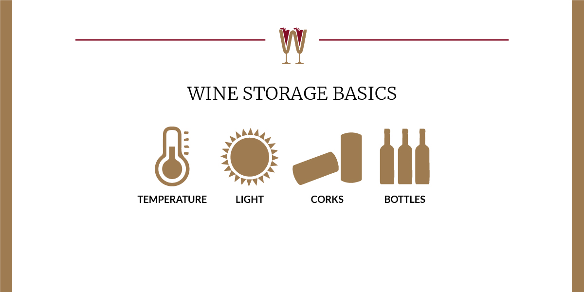 Art showing a selection of icons related to WineScribble Wine for Beginners Wine Storage Basics